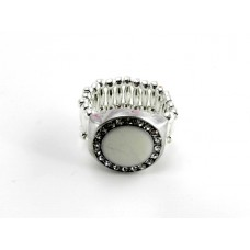 White and Crystal Adjustable Ring