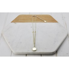 Short Gold Round Disc & Bead Necklace