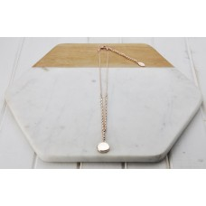 Short Rose Gold Round Disc & Bead Necklace