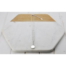Short Silver Round Disc & Bead Necklace