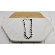 Silver & Black Leather Short Necklace