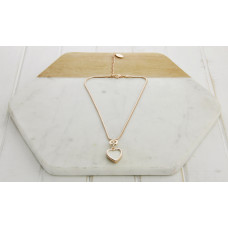 Short Rose Gold White Heart Necklace