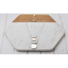 Silver Short 2 Layer Disc Necklace
