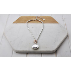 Silver Short Silver Disc Necklace