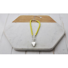 Short Yellow Bead Heart Necklace