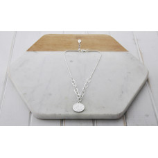 Silver Pattern Disc Necklace