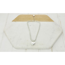 Short Silver Ball Chain & Heart Necklace
