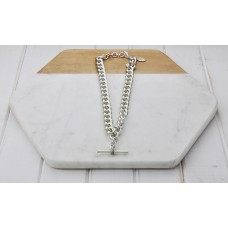 Chunky Silver Fob Chain With TBar Necklace