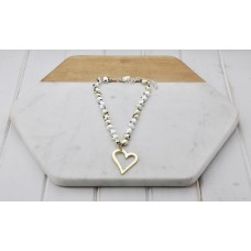 Gold and Silver Knotted Beads with Gold Heart Pendant Necklace