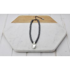 Short Hematite Chain With Silver Heart Necklace