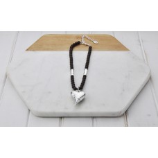 Short Coffee Beads With Silver Heart Necklace