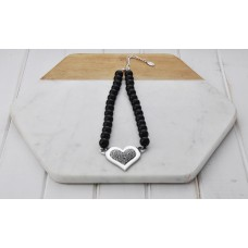Short Black Beads With Large Bling Heart Necklace
