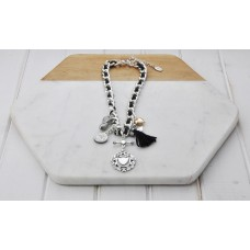 Silver Chain and Black Cord Charm Necklace