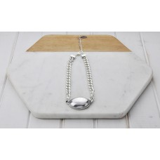 Chunky Silver Chain w Oval Disc
