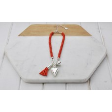 Short Coral Beads With Tassel and Heart Necklace