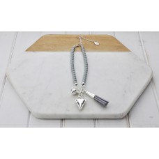 Short Grey Beads With Tassel and Heart Necklace