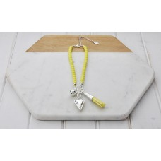 Short Yellow Beads With Tassel and Heart Necklace