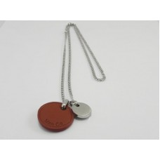 Brown Leather Pendant With Stainless Steel Chain Necklace