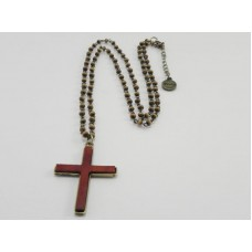 Cross With Wood Bead Chain necklace