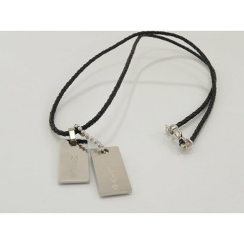 Interlace Leather With Stainless Steel Pendant Necklace